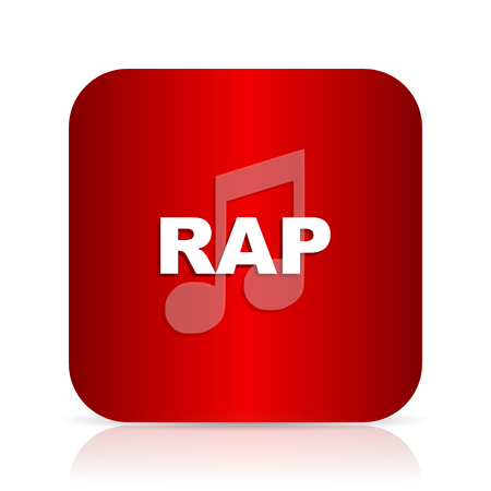 rap music: rap music red square modern design icon