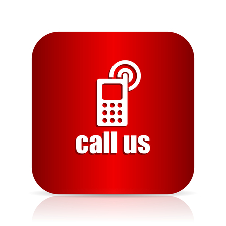call us: call us red square modern design icon Stock Photo