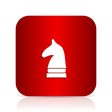 mind set: chess horse red square modern design icon