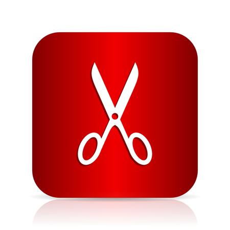 shampooing: scissors red square modern design icon