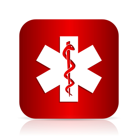 emergency red square modern design icon