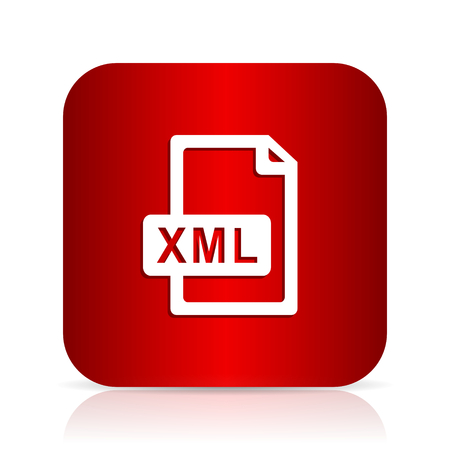 xml: xml file red square modern design icon
