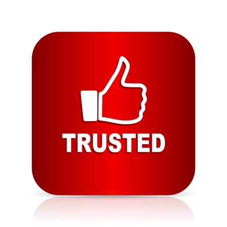 trusted: trusted red square modern design icon Stock Photo