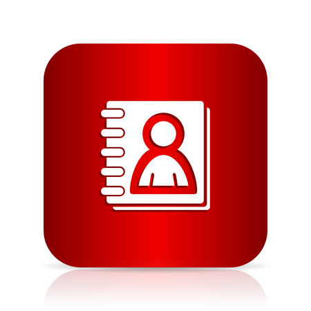 address book: address book red square modern design icon Stock Photo