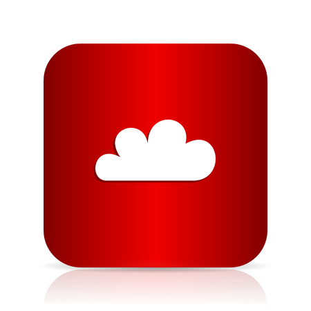 cloud red square modern design icon