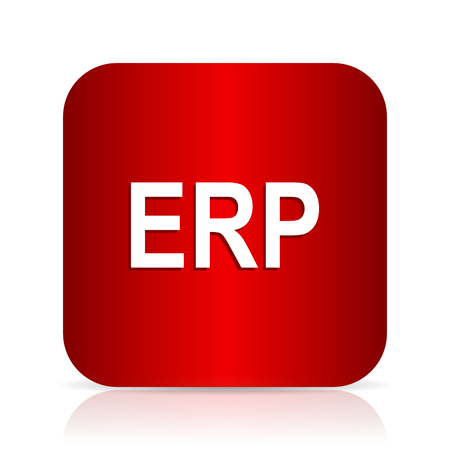 erp: erp red square modern design icon