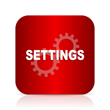 parameters: settings red square modern design icon