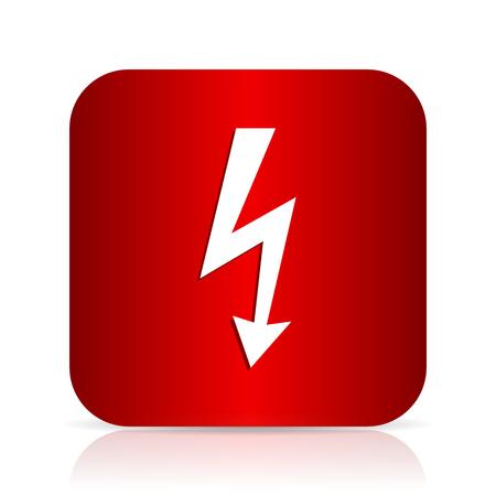 high voltage symbol: bolt red square modern design icon