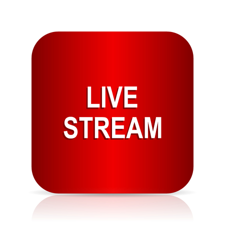 news cast: live stream red square modern design icon