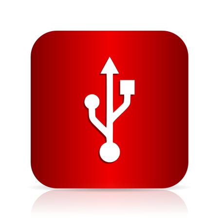 usb red square modern design icon Stock Photo