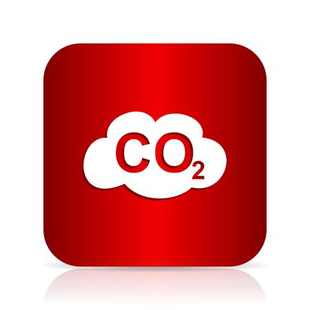 dioxido de carbono: el dióxido de carbono rojo cuadrado moderno icono del diseño Foto de archivo