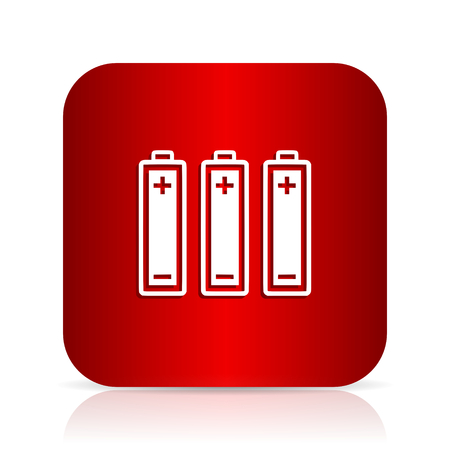 accuse: battery red square modern design icon Stock Photo