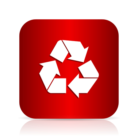 recycle red square modern design icon
