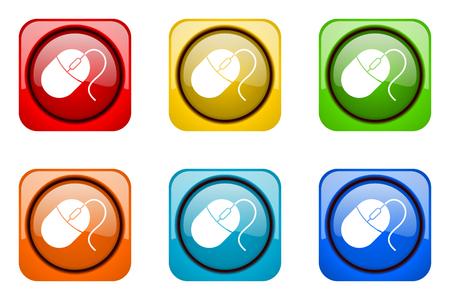 web icons: mouse colorful web icons