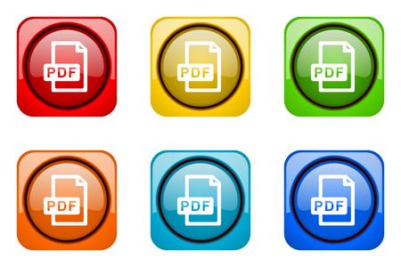 bibliography: pdf file colorful web icons Stock Photo