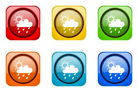 web icons: rain colorful web icons Stock Photo