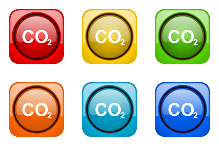 carbon dioxide: carbon dioxide colorful web icons Stock Photo