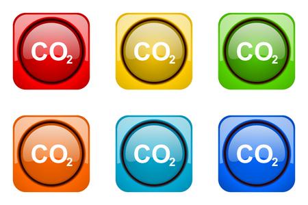 dioxido de carbono: de dióxido de carbono coloridos iconos de la web Foto de archivo