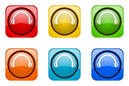 web icons: headphones colorful web icons