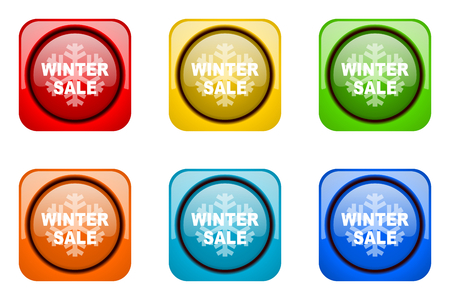 winter sale: winter sale colorful web icons