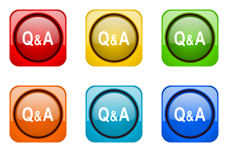 question and answer: question answer colorful web icons Stock Photo