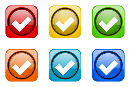 web icons: accept colorful web icons Stock Photo
