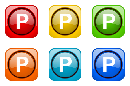 web icons: parking colorful web icons