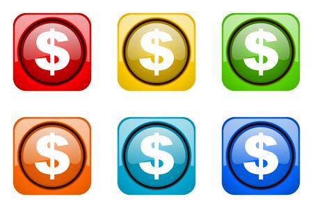 dollar colorful web icons
