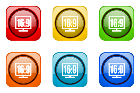 16 9: 16 9 display colorful web icons