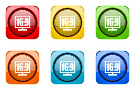 16 9 display: 16 9 display colorful web icons