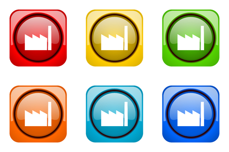 industrialist: factory colorful web icons Stock Photo
