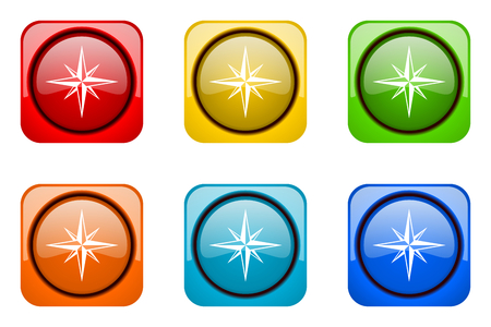 geodesy: compass colorful web icons Stock Photo