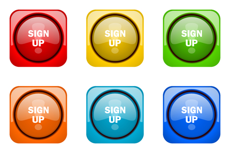 color registration: sign up colorful web icons
