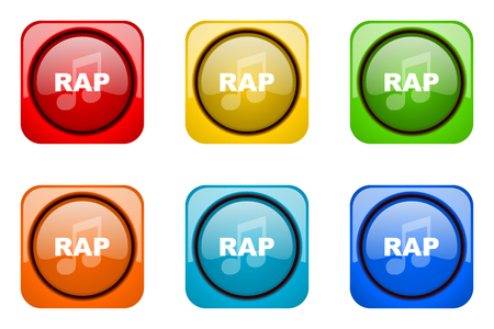 rap music: rap music colorful web icons