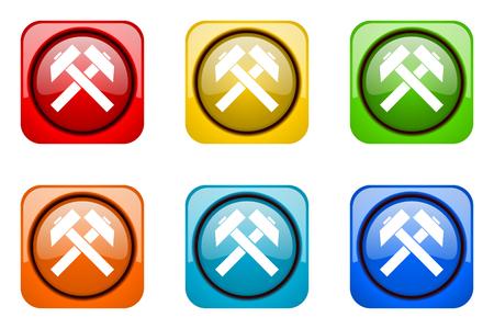 web icons: mining colorful web icons Stock Photo