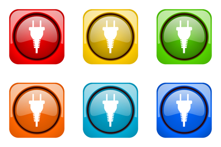 plug colorful web icons