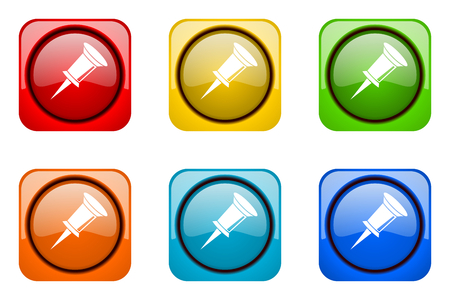 postit note: pin colorful web icons Stock Photo
