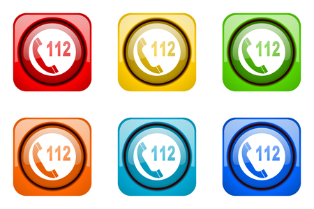 emergency call: emergency call colorful web icons Stock Photo