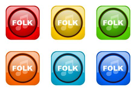 folk music: folk music colorful web icons