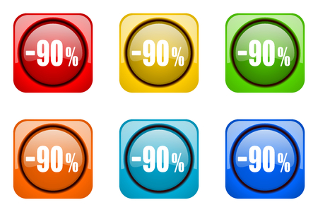 90: 90 percent sale retail colorful web icons Stock Photo