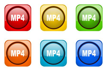web icons: mp4 colorful web icons