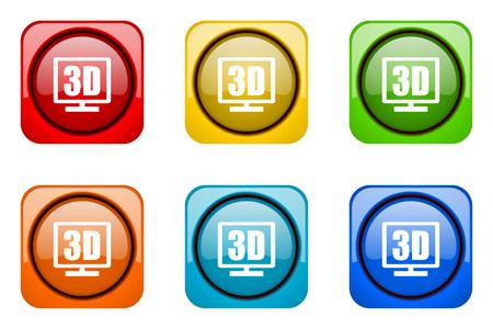 display: 3d display colorful web icons Stock Photo