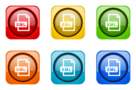 xml: xml file colorful web icons Stock Photo