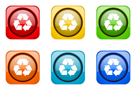 web icons: recycle colorful web icons