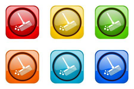 web icons: broom colorful web icons Stock Photo