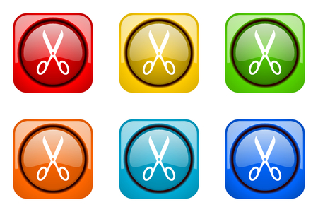 shampooing: scissors colorful web icons Stock Photo