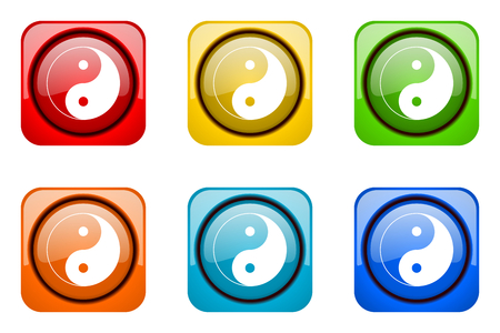 ying yang colorful web icons