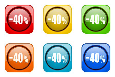 40: 40 percent sale retail colorful web icons