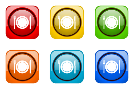 restaurant colorful web icons