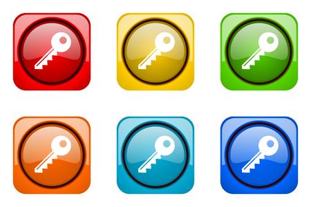 web icons: key colorful web icons Stock Photo
